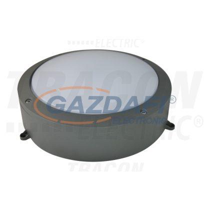 TRACON LFV40NW Védett fali LED lámpatest, porszórt, szürke 100-240 VAC; 40 W; 3000 lm; D=276 mm, 4000 K; IP65, EEI=A