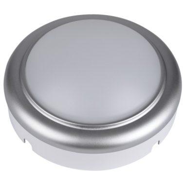 TRACON LHLMKS8NW Műanyag házas LED hajólámpa ezüst kerettel, kerek 230 V, 50 Hz, 8 W, 4000 K, 560 lm, IP54, ABS+PC, EEI=A