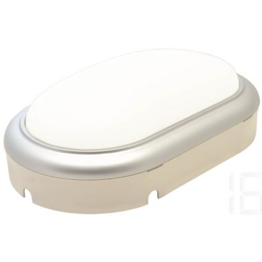 TRACON LHLMOS15NW Műanyag házas LED hajólámpa ezüst kerettel, ovális 230 V, 50 Hz, 15 W, 4000 K, 1050 lm, IP54, ABS+PC, EEI=A