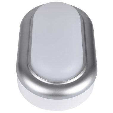 TRACON LHLMOS8NW Műanyag házas LED hajólámpa ezüst kerettel, ovális 230 V, 50 Hz, 8 W, 4000 K, 560 lm, IP54, ABS+PC, EEI=A