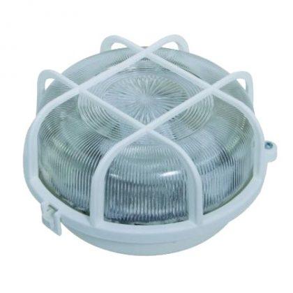 LENA LIGHTING Hajólámpa, műanyag rácsos, fehér, 230V, E27, 100W, IP44
