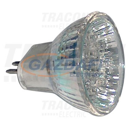 TRACON MR16L-Y Hidegtükrös LED fényforrás, sárga 12 V AC/DC, MR16, 1,2W, 120°, G5.3, 18×LED