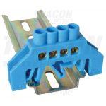 TRACON NPE-B6-4 Szigetelt földelősín (N/PE), kék 230/400VAC, 100A, 6×9mm, 4P, IP20