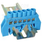 TRACON NPE-B6-6 Szigetelt földelősín (N/PE), kék 230/400VAC, 100A, 6×9mm, 6P, IP20