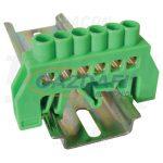 TRACON NPE-G6-6 Szigetelt földelősín (N/PE), zöld 230/400VAC, 100A, 6×9mm, 6P, IP20