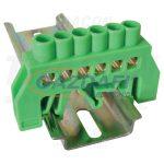 TRACON NPE-G6-6 Szigetelt földelősín (N/PE), zöld 230/400VAC, 100A, 6×9mm, 6P, IP20, 5 db/csomag
