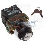 TRACON NYBG61KK Kulcsos kapcsoló, fémalap, bal KI, kétállású, rugóvissza 1×NO, 3A/230V AC, IP42