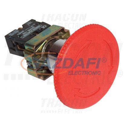TRACON NYG442P30T Tokozott reteszelt gombafejű vészgomb, piros, elfordítással 1×NC, 3A/400V AC, IP44, d=30mm