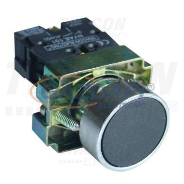 TRACON NYGBA21 Egyszerű nyomógomb, fémalapra szerelt, fekete 1×NO, 3A/240V AC, IP42