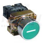 TRACON NYGBA3311ZT Tokozott jelölt nyomógomb, fémalapra szer., zöld, (fehér I) 1×NO, 3A/240V AC, IP44