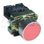 TRACON NYGBA42PT Tokozott egyszerű nyomógomb, fémalapra szerelt, piros 1×NC, 3A/240V AC, IP44