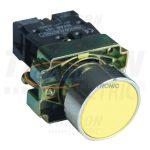TRACON NYGBA51ST Tokozott egyszerű nyomógomb, fémalapra szerelt, sárga 1×NO, 3A/240V AC, IP44