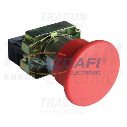 TRACON NYGBC42PTS Tokozott gombafejű vészgomb, fémalap, piros, sárga fedéllel 1×NC, 3A/400V AC, IP42, d=40mm