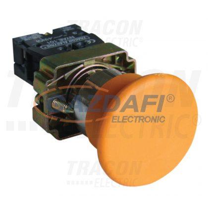 TRACON NYGBC51ST Tokozott gombafejű nyomógomb, fémalapra szerelt, sárga 1×NO, 3A/400V AC, IP44, d=40mm