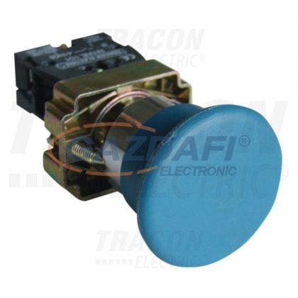 TRACON NYGBC61KT Tokozott gombafejű nyomógomb, fémalapra szerelt, kék 1×NO, 3A/400V AC, IP44, d=40mm