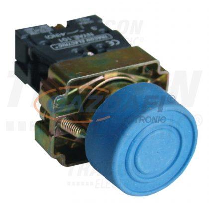TRACON NYGBP61KT Tokozott gumiburkolatos nyomógomb, fémalapra szerelt, kék 1×NO, 3A/240V AC, IP44