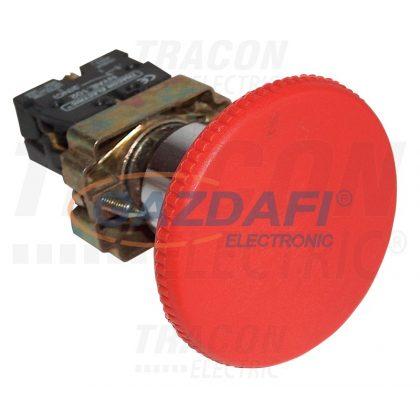 TRACON NYGBR42PT Tokozott gombafejű vészgomb, fémalapra szerelt, piros 1×NC, 3A/400V AC, IP44, d=40mm