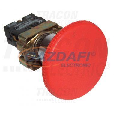 TRACON NYGBR42PTS Tokozott gombafejű vészgomb, fémalap, piros sárga fedéllel 1×NC, 3A/400V AC, IP42, d=40mm