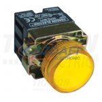 TRACON NYGBV75S Tokozott jelzőlámpa, fémalapra szerelt, sárga, előtéttel 3A/230V AC, IP42, NYGI130