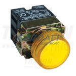 TRACON NYGBV75ST Tokozott jelzőlámpa, fémalapra szerelt, sárga, előtéttel 3A/230V AC, IP44, NYGI130
