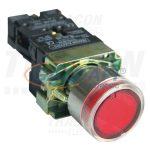 TRACON NYGBW33P Világító nyomógomb, fémalapra szerelt, piros, glim 1×NC, 3A/400V AC, 230V, IP42