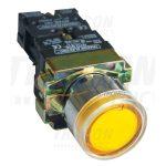 TRACON NYGBW33ST Tokozott világító nyomógomb, fémalapra szerelt, sárga, glim 1×NO, 3A/400V AC, 230V, IP44