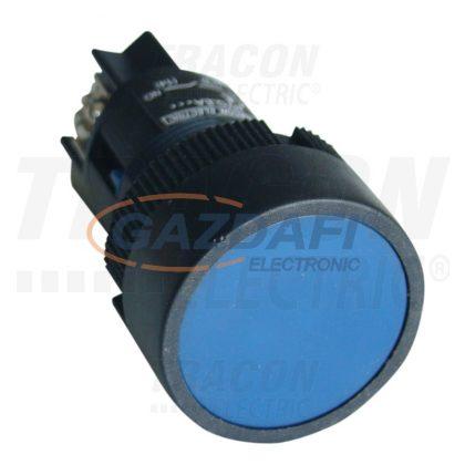 TRACON NYGEA161KT Tokozott nyomógomb, műanyag testű, kék 1×NO, 0,4A/400V AC, IP44, d=22mm
