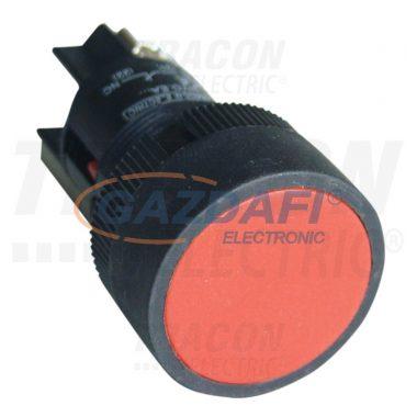 TRACON NYGEH142P Nyomókapcsoló, műanyag testű, piros 1×NC, 0,4A/400V AC, IP42, d=22mm