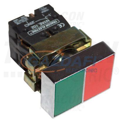 TRACON NYKK8325T Tokozott kettős BE-KI nyomógomb, fémalap, zöld+piros 1×NC+1×NO, 3A/400V AC, IP44