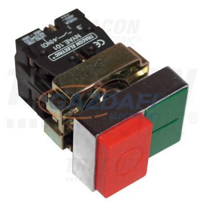 TRACON NYKK8425T Tokozott kettős BE-KI nyomógomb, fémalap, zöld+piros kiálló 1×NC+1×NO, 3A/400V AC, IP44