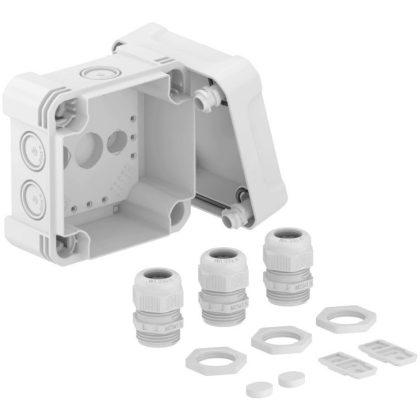 OBO 2005034 X04 G M20 LGR Leágazódoboz 3 db V-TEC VM és 3x116 tömszelencével és ellenanyával  114x114x78mm