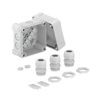 OBO 2005222 X02 T G M20 LGR Leágazódoboz sorkapocsléccel, 3 db V-TEC VM és 3x116 tömszelencével és ellenanyával  95x95x72mm