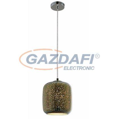 OPTONICA PD9016 3D üveg függesztett,henger alakú lámpa,tűzijáték hatás,króm - 40W E27 200x213mm