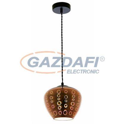 OPTONICA PD9021 3D üveg függesztett csillár,kör mintás,réz - 40W E27 200x165mm