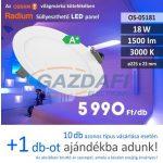 RADIUM Süllyesztett LED panel, kerek, 18W, 1500Lm, 3000K 17x23mm