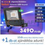 RADIUM LED fényvető, 10W, 700Lm, 4000K, 125x29mm, IP65