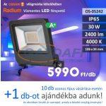 RADIUM LED fényvető 30W, 2400Lm, 4000K, 186x34mm, IP65