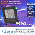 RADIUM LED fényvető, 50W, 4000Lm, 4000K, 227x37mm, IP65