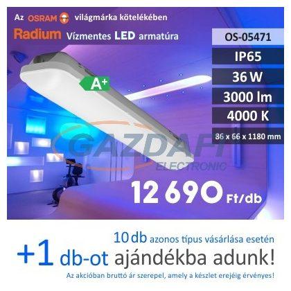 RADIUM LED lámpatest 36W 220-240V 3000lm 4000K 120° 1180x66mm IP65 A+ 30000h
