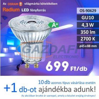 RADIUM LED fényforrás, GU10, 4.3W, 350Lm, 240V, 2700K
