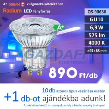 RADIUM LED fényforrás, GU10, 6,9W, 575Lm, 240V, 4000K