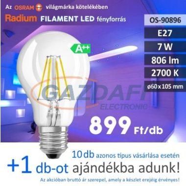 RADIUM A60 LED fényforrás, filament, E27, 7W, 806Lm, 240V, 2700K