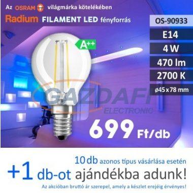RADIUM LED fényforrás, filament, E14, 4W, 470Lm, 240V, 2700K, átlátszó búra