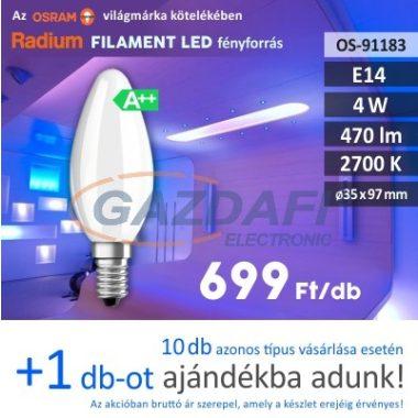 RADIUM LED fényforrás, filament, E14, 4W, 470Lm, 240V, 2700K, opál búra