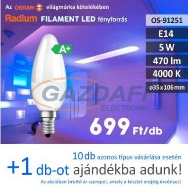 RADIUM LED fényforrás, E14, 5W, 470Lm, 240V, 4000K, opál búra