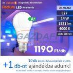 RADIUM A60 LED fényforrás, E27, 14W, 1521Lm, 240V, 4000K, opál búra