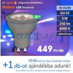 RADIUM LED fényforrás, GU10, 3W, 250Lm, 240V, 4000K