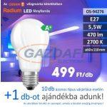 RADIUM A60 LED fényforrás, E27, 5.5W, 470Lm, 240V, 2700K, opál búra