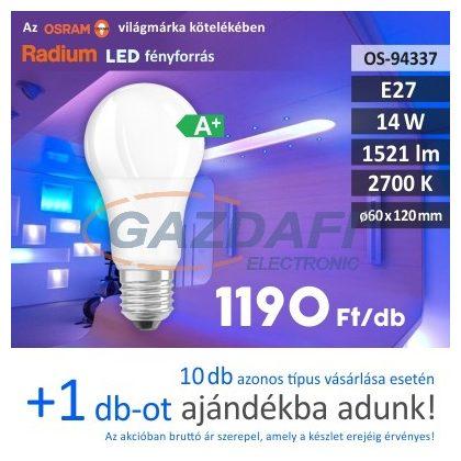 RADIUM A60 LED fényforrás, E27, 14W, 1521Lm, 240V, 2700K, opál búra
