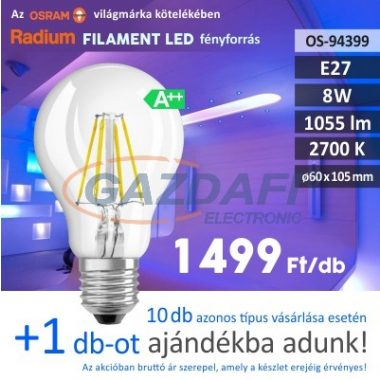 RADIUM A60 LED fényforrás, filament, E27, 8W, 1055Lm, 240V, 2700K